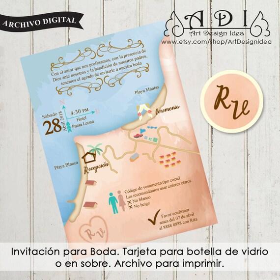 Mapa Invitación Para Boda En La Playa Invitacion Para Boetella De Vidrio Archivo Para Imprimir Pdf File