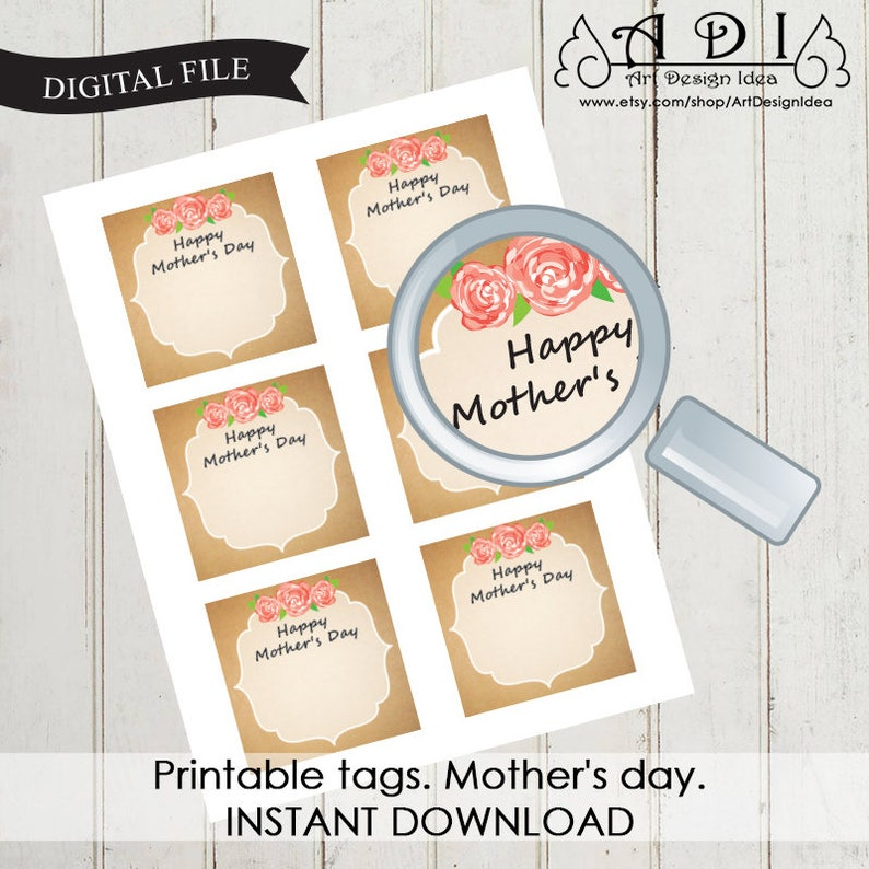 image relating to Printable Kraft Tags named Printable tags. Moms working day Kraft tag Immediate Obtain Superior high-quality report pdf 0516