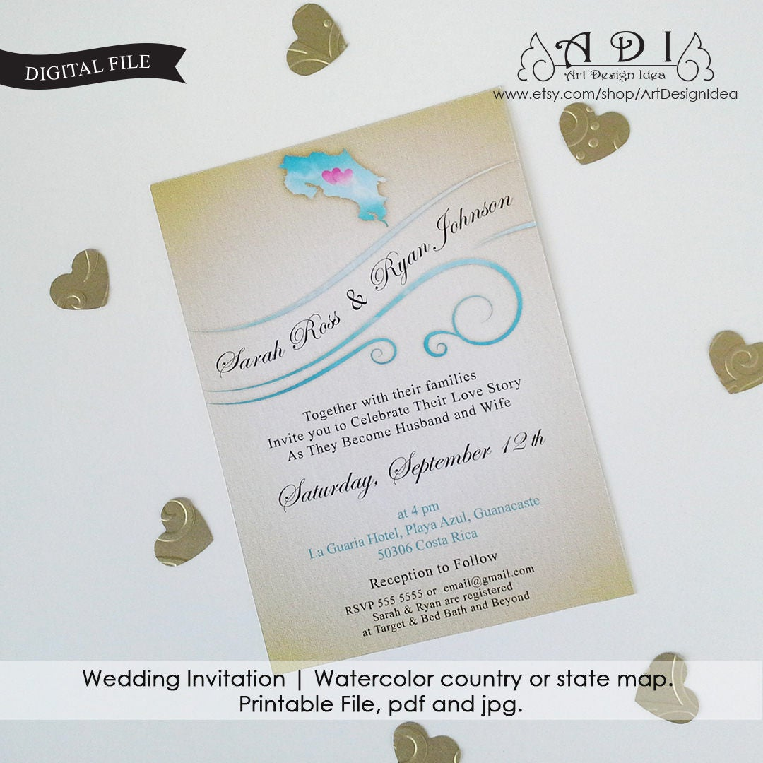 Wedding invitation. Watercolor country or state map. Map.
