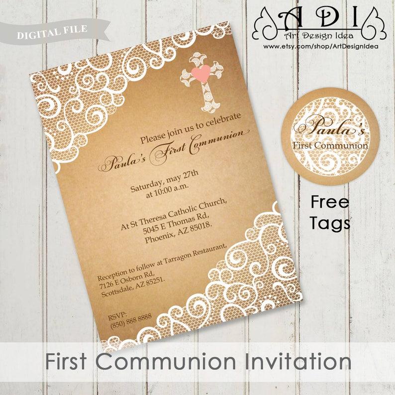 Invitacion Primera Comunion Inviti Prima Comunione First Etsy