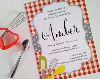 Bridal Shower Invitation. Red check tablecloth design. Printable digital file. Texto modificable a español también.