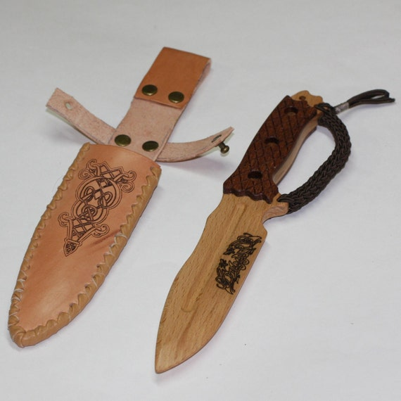 Toy wooden knife with leather sheath