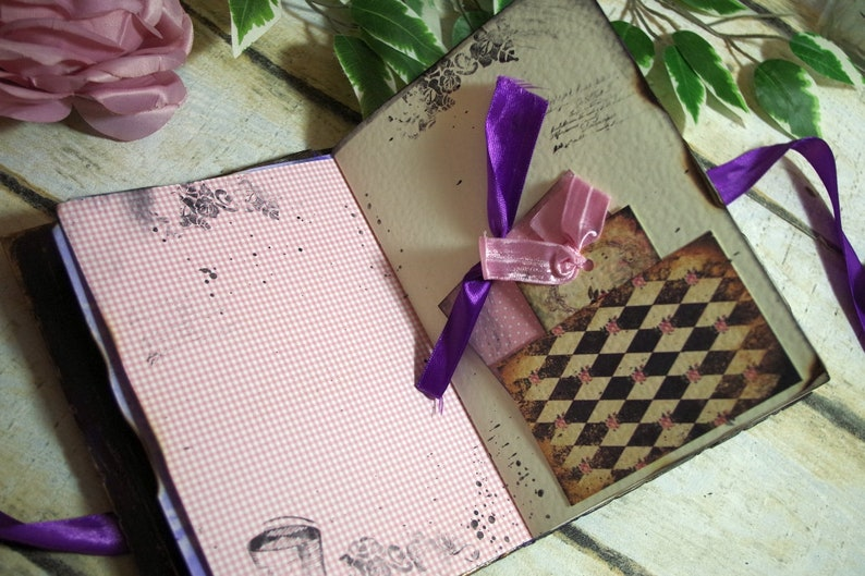 Alice in Wonderland Wedding Guest Book Vintage Photo Album cadbury Purple gold guestbook fairytale wedding storybook scrapbook
