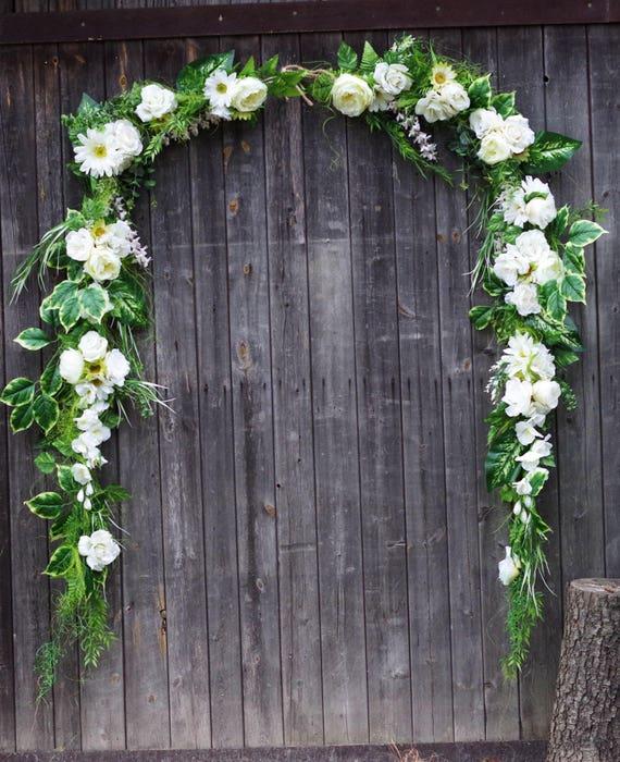 Custom 15 ft xl wedding flower arch white and creamy floral etsy image 0 mightylinksfo