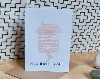New Home - YAY!  Linocut & Letterpress handmade card