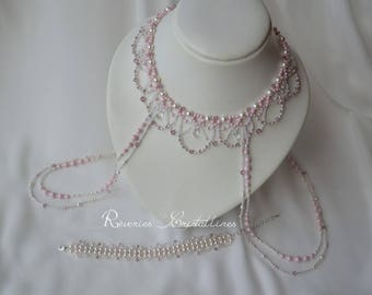 Bridal Jewelry Wedding necklace for shoulders, pink and white pearls, crystals - wedding jewelry - necklace, blue and Tan shoulder
