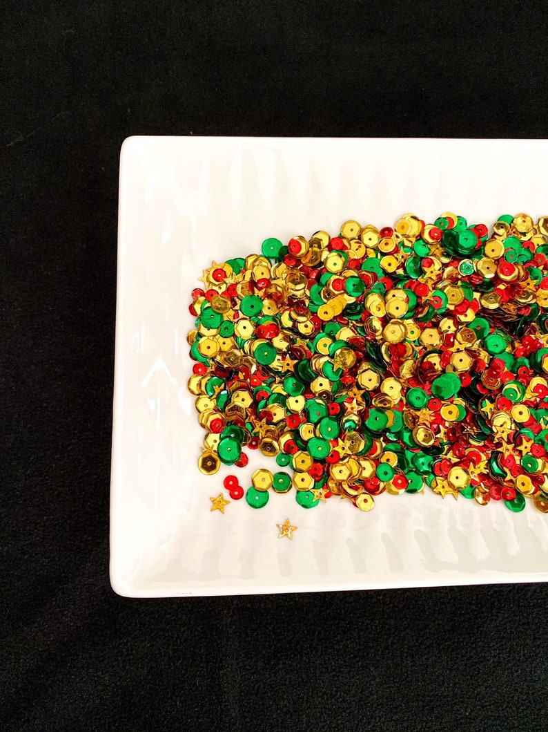 Christmas Star Sequins Mix Gold Red and Green Sequins Mix image 0
