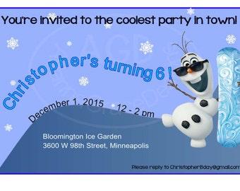 Olaf invitation etsy olaf invitation personalized olaf birthday invite olaf party invite frozen birthday party digital filmwisefo