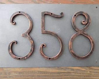 Bon House Number /Black Copper / Iron House Numbers 5 Inch/Door Numbers / Metal House  Number/Address Numbers/Sign Flat Room Number /Rustic Decor