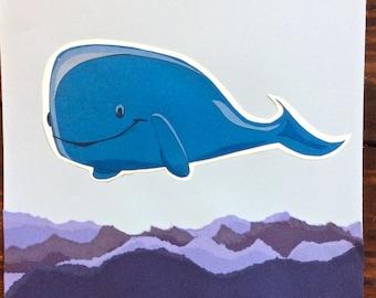 Oeuvre de papier découpé de baleines