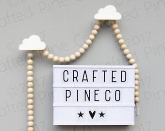 wooden wall hook - pine cloud hooks - hand painted decorative hooks - cloud hanger