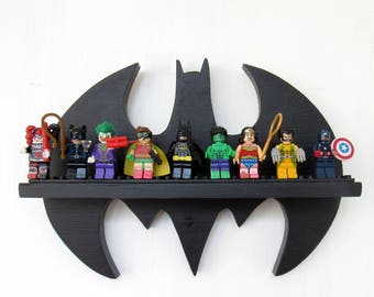 LEGO Batman Mini Figuren Anzeige Regal   Holz Lego Fledermaus Regal   Lego  Regal   Kinderzimmer Dekor