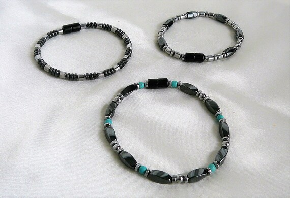 Magnetic 100/% Faceted Hematite Tibetan Silver Bracelet 3 Anklet Row Therapeutic