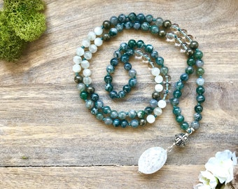 Mala Bead Necklace with Moss Agate and Moonstone/ Buddhist Necklace /Meditation and Yoga Necklace/ Long Boho Knotted Necklace/ Japa Mala