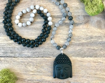 I AM PROTECTED Mala Beads Necklace. Buddha Necklace. Gemstone Mala Beads. Black Obsidian and Grey Quartz Mala Necklace. Rosary Prayer Beads