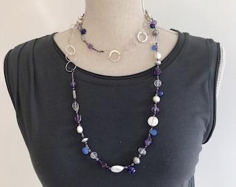 Vida~ Long  Multi-Gemstone Statement Necklace | Long Boho Sterling Silver Necklace | Beaded Long Necklace | Original Gemstone Necklace