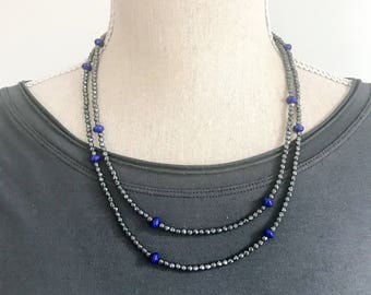 Hematite and Lapis Lazuli Wrap Necklace, Double Wrap Necklace and Bracelet, Beaded choker boho necklace, Gifts for Wife, Stocking Stuffer