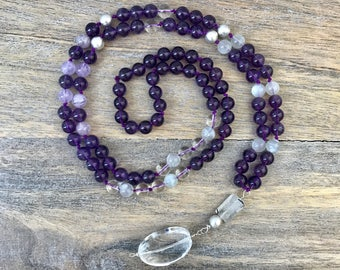 Amethyst Knotted Mala Necklace / 108 Mala Beads / Japa Mala / Gemstone Long Boho Necklace / Meditation Beads / Yoga Jewelry