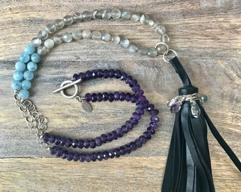 Amethyst, Aquamarine and Moonstone Long Boho Beaded Necklace with Leather Tassel, Long Statement Necklace,  Amethyst Boho Necklace