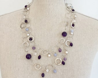 Amethyst Long Gemstone Necklace, Double Wrap Silver Chain Necklace, Gemstone Necklace,One of A Kind and Handmade Necklace,Wife Gift Ideas