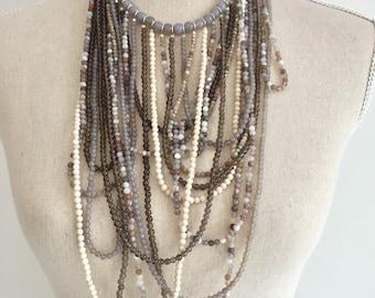 Multi strand gemstone necklace for women , OOAK Multi layer statement necklace, Chunky necklace, Boho multi layered necklace