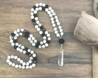 I AM CALM Howlite and Onyx Mens 108 Mala Bead Necklace / Mens Japa Mala / Mens Buddhist Meditation Beads/Yoga Necklace /Meditation Gifts