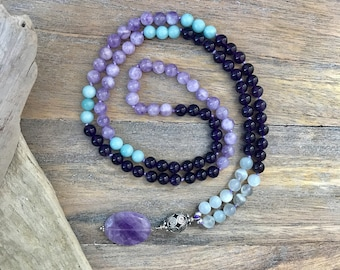 Amethyst, Amazonite and Moonstone 108 Mala Bead Necklace, Buddhist knotted Amethyst Necklace, Yoga Beaded Necklace, Japa Mala