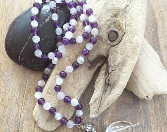 Calming and Balancing 108 Bead Mala/Moonstone and Amethyst Mala/ Meditation Beads/ Gemstones/Knotted Mala/Yoga/Mala Beads/Boho-chic