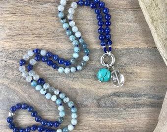 Lapis Lazuli, Aquamarine and Moonstone 108 Mala Beads Necklace No tassel with Clasp, Buddhist Jewelry, Customizable Beaded Gemstone Necklace