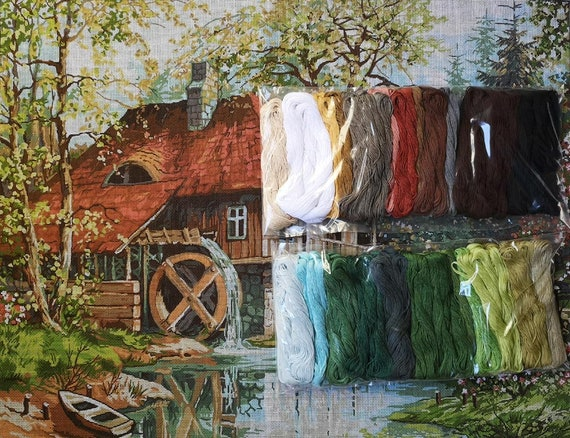 Hudemas Needlepoint kit French Landscape 21x27.5in 54x70cm Printed Canvas 700