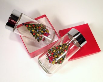 Christmas Tree Salt & Pepper Shakers   Glass + Chrome Holiday Spice Jars