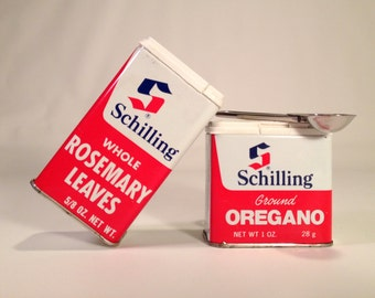 Schilling Oregano & Rosemary Spice Tins | Flip-Top Retro Canisters
