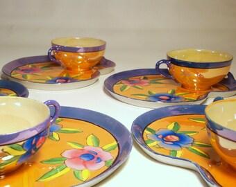 1950s Lusterware 5-Pair Cup & Snack Trays | Blue, Orange, Floral, Kidney