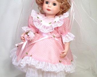 Flower Girl Porcelain Doll   14 inch Jointed Hard Body   Handmade in 1992