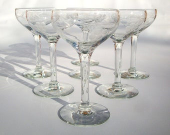 7 Etched Bevel Cut Grape Pattern Vintage Stemware | Set of 7 Small Clear Glasses | Sherry, Cordial, Aperitif, Shot, Barware