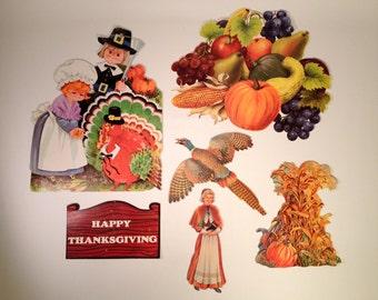 Thanksgiving Paperboard Cut-Outs | Cardstock Pilgrim & Turkey Décor | Vintage Autumn Prints