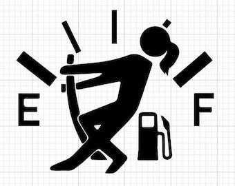 Empty Gas Tank Silhouette | Fuel Door Decal | Car Decals | Car Stickers