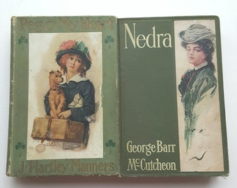 Peg O' My Heart by J. Hartley Manners/Nedra by Georg Barr McCutcheon/ Two Vintage Books/ Green Book Decor