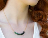 Raw Emerald Necklace, May Birthday Gifts for Women, Ombre Green Layering Necklace, Birtstone Jewelry for Her