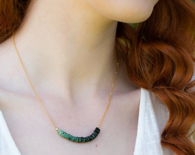Featured listing image: Raw Emerald Ombre Necklace - May Birthstone