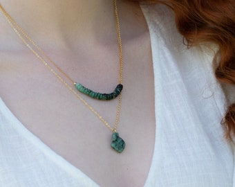 Raw Emerald Necklace - May Birthstone