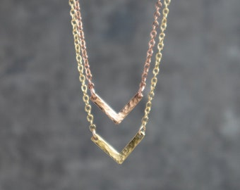 Hammered Dainty Chevron Necklace - Single or Layered