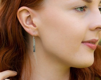 Ombré Aquamarine Threader Earrings - March Birthstone