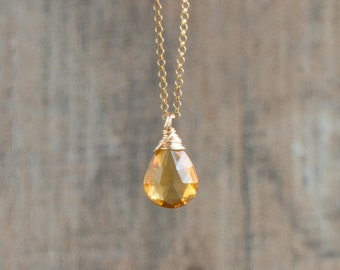 Citrine Teardrop Necklace - November Birthstone