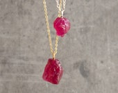 Ruby Necklace, Crystal Necklace, Raw Ruby Necklace, July Birthstone Necklace, Birthday Gift for Her, Gift for Him, Raw Ruby Jewelry