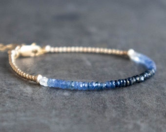 Ombre Sapphire Bracelet, Blue Sapphire Jewelry, Beaded Gemstone Bracelets for Women, September Birthstone, 5th Anniversary Gift for Wife