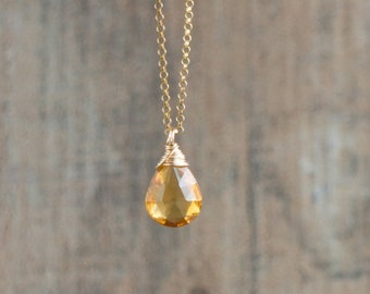 Citrine Teardrop Necklace - November Birthstone