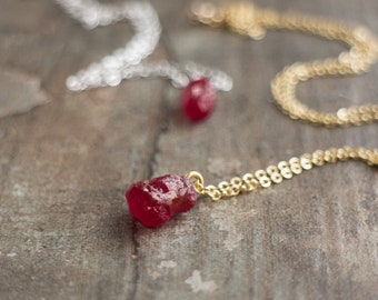 Raw Ruby Necklace, July Birthstone, Christmas Gift for Girlfriend, Raw Crystal Necklace