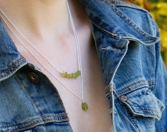 Tiny Raw Peridot Necklace -  August Birthstone