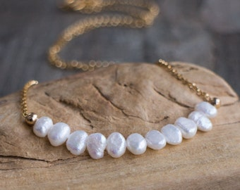 Freshwater Keshi Pearl Necklace - June Birthstone